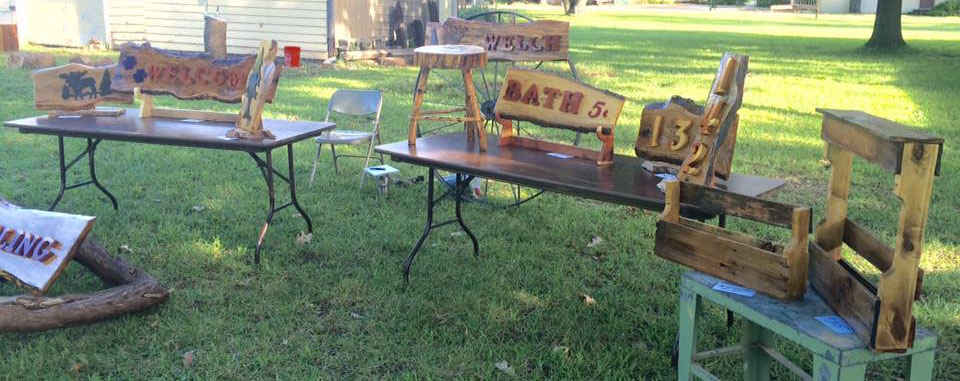Dave collaborates with others to make items for sale. He supplies his friend, firefighter, James Welch with slabs. James turns them into handsome rustic signs.
