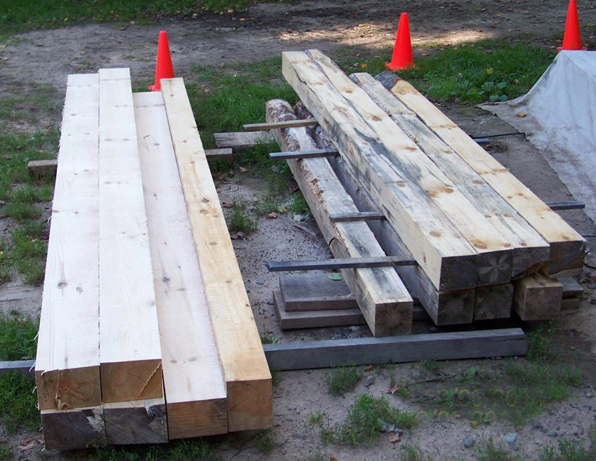 Lynn's woodlot is 70 acres big. Here are some of the beams he's sawn out in preparation for building
