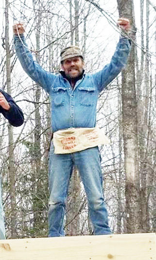 """The camera caught Lynn exclaiming, """"Yahoo! I got the first part of this tree stand done!"""""""