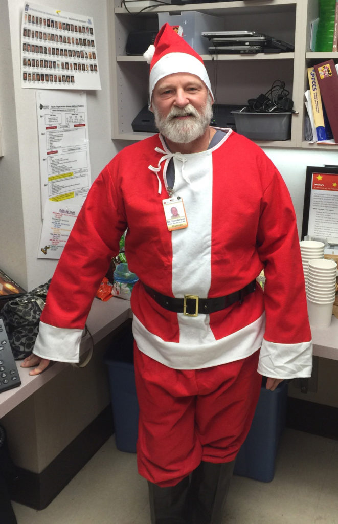 Bryan takes his fun seriously. He played Santa Claus in the Emergency Department one recent Christmas Eve.