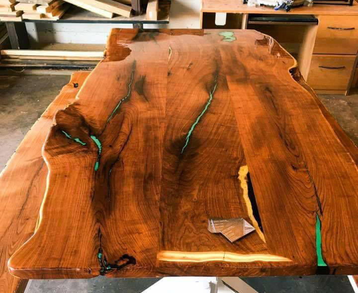 AFTER -- Now it's practically a museum piece with a deep, rich finish and turquoise inlay. Outstanding, Doug!