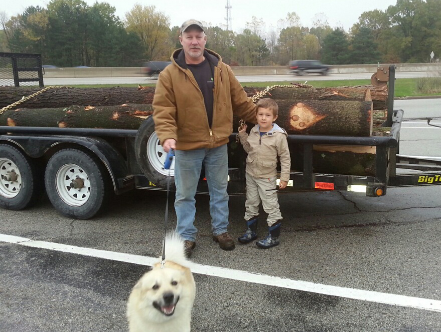 Grandpa Tim hauled in 100 16' white pine sawlogs with help from grandson, Connor, and faithful dog, Loki.