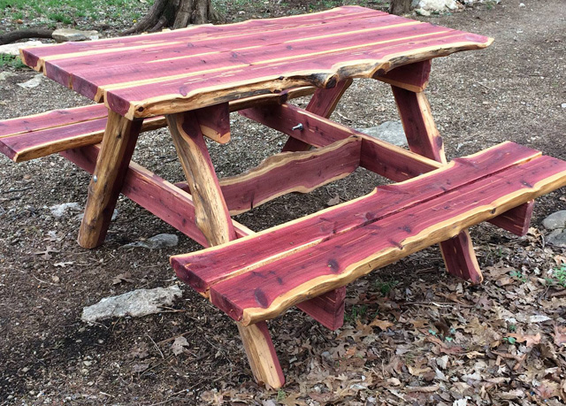 Their handsome and rugged red cedar picnic tables should last a lifetime with very little care