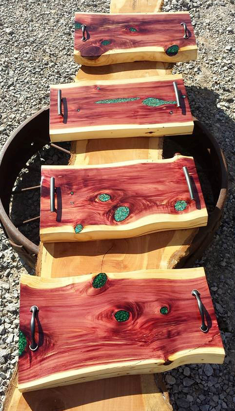 Brian does value-added inlay work on some of his pieces. Here's turquoise inlaid into red cedar.